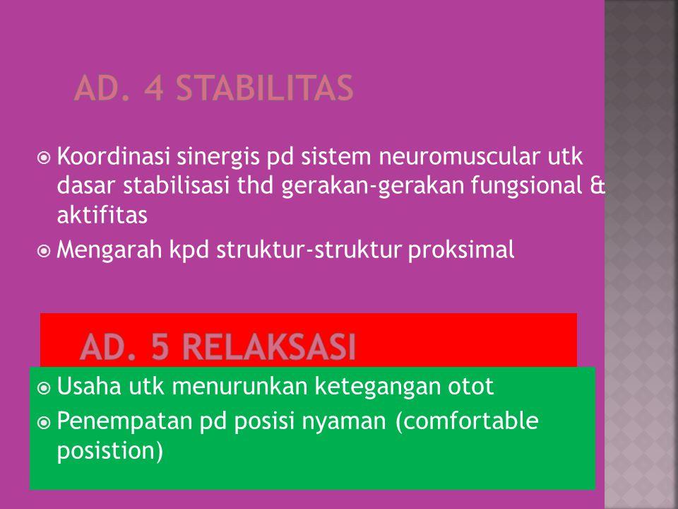  Koordinasi sinergis pd sistem neuromuscular utk dasar stabilisasi thd gerakan-gerakan fungsional & aktifitas  Mengarah kpd struktur-struktur proksimal  Usaha utk menurunkan ketegangan otot  Penempatan pd posisi nyaman (comfortable posistion)