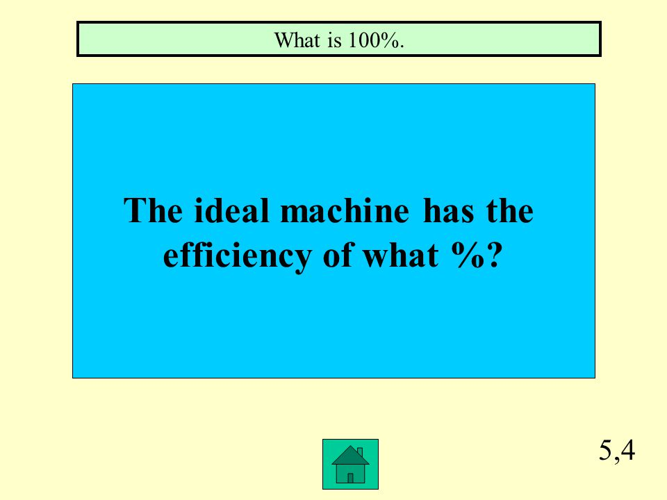 5,3 Comparing output work to input work as a percent will give you the ______________ of a machine.
