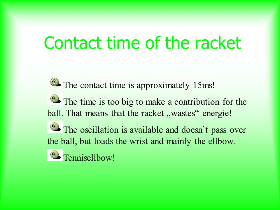 Contact time of the racket The contact time is approximately 15ms.