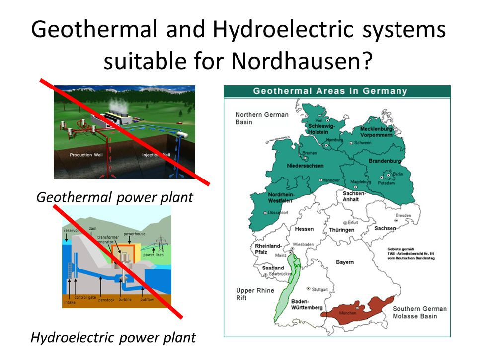 Geothermal and Hydroelectric systems suitable for Nordhausen? Geothermal power plant Hydroelectric power plant