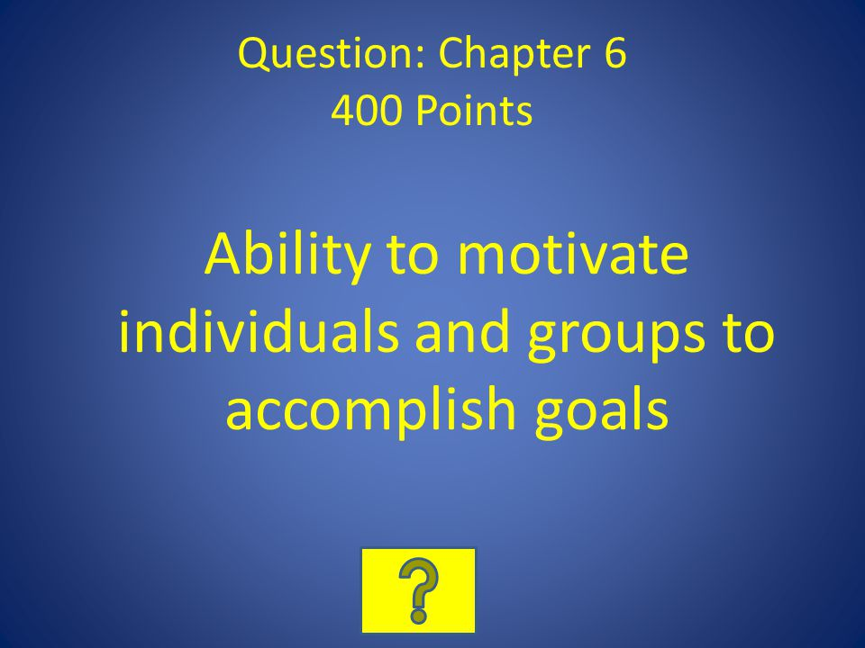 Question: Chapter 6 400 Points Ability to motivate individuals and groups to accomplish goals