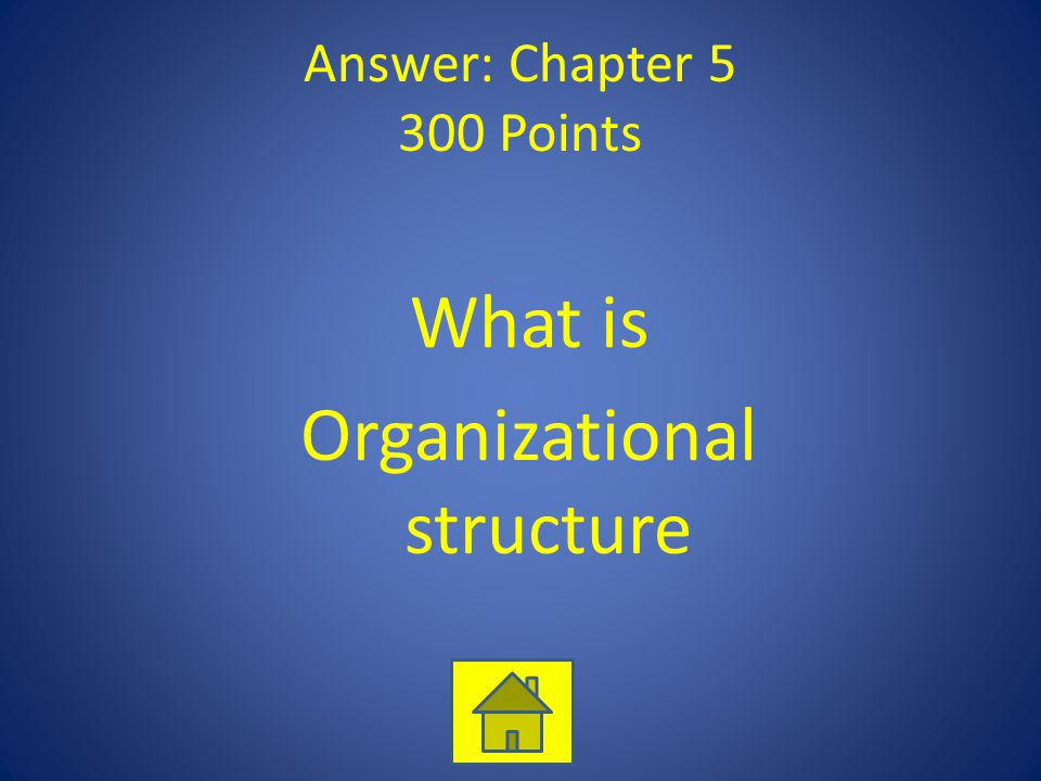 Answer: Chapter 5 300 Points What is Organizational structure