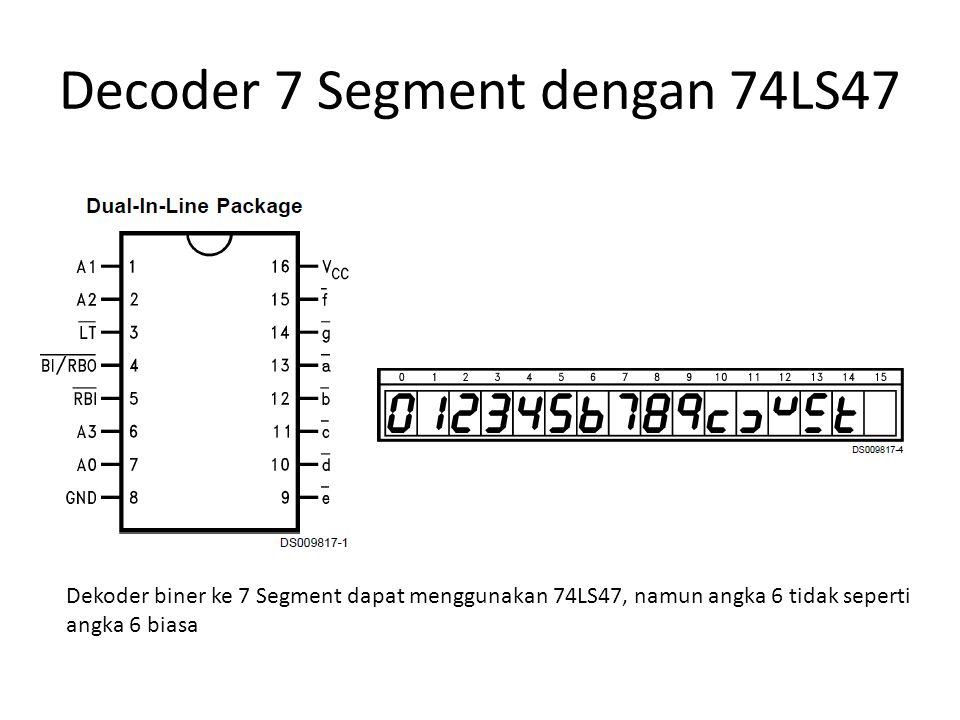 Decoder 7 Segment dengan 74LS47 Dekoder biner ke 7 Segment dapat menggunakan 74LS47, namun angka 6 tidak seperti angka 6 biasa