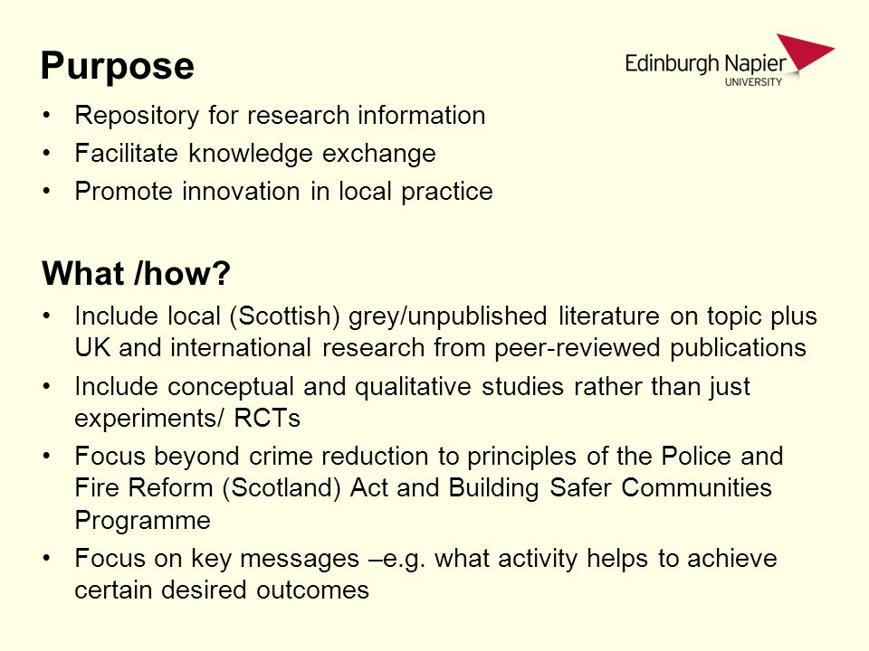 Purpose Repository for research information Facilitate knowledge exchange Promote innovation in local practice What /how.