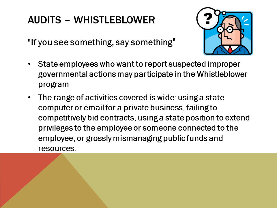 AUDITS – WHISTLEBLOWER If you see something, say something State employees who want to report suspected improper governmental actions may participate in the Whistleblower program The range of activities covered is wide: using a state computer or email for a private business, failing to competitively bid contracts, using a state position to extend privileges to the employee or someone connected to the employee, or grossly mismanaging public funds and resources.