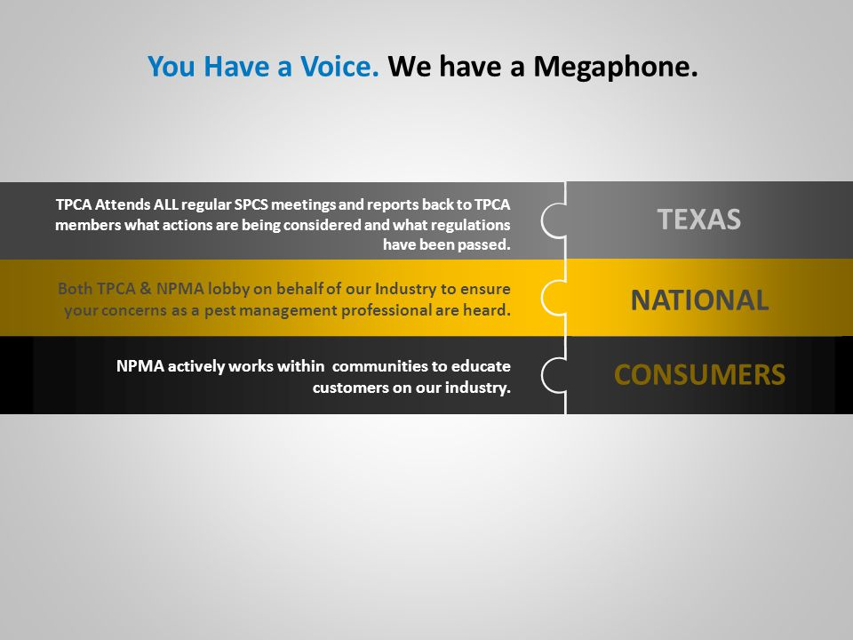 TEXAS NATIONAL CONSUMERS Both TPCA & NPMA lobby on behalf of our Industry to ensure your concerns as a pest management professional are heard.