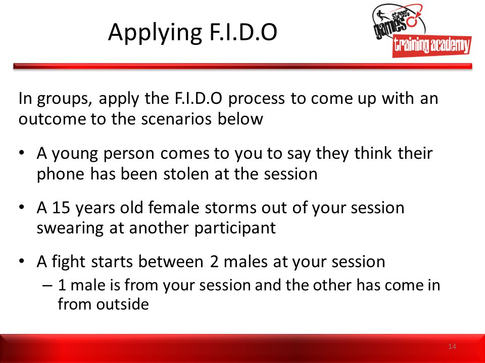 Applying F.I.D.O In groups, apply the F.I.D.O process to come up with an outcome to the scenarios below A young person comes to you to say they think