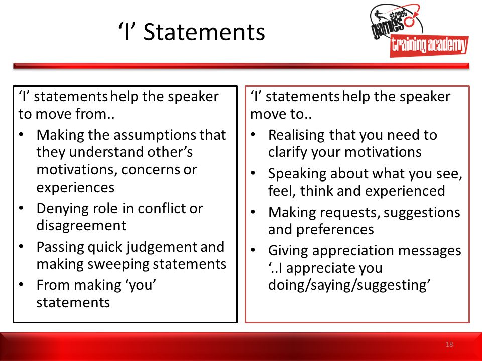 'I' Statements 'I' statements help the speaker to move from..