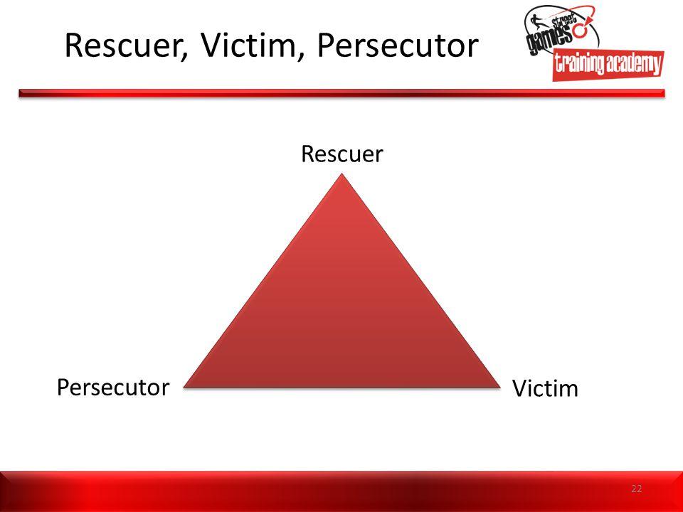 Rescuer, Victim, Persecutor Rescuer Persecutor Victim 22