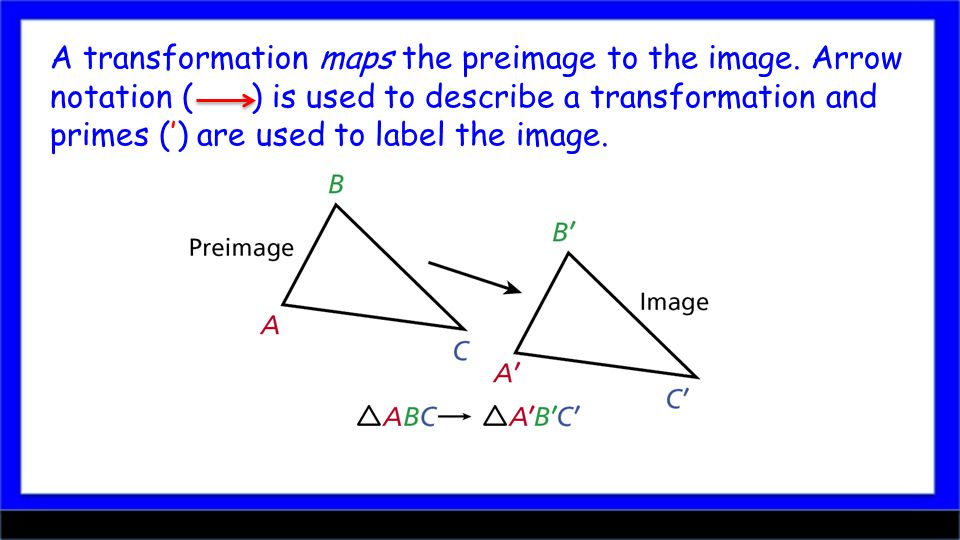 A transformation maps the preimage to the image.