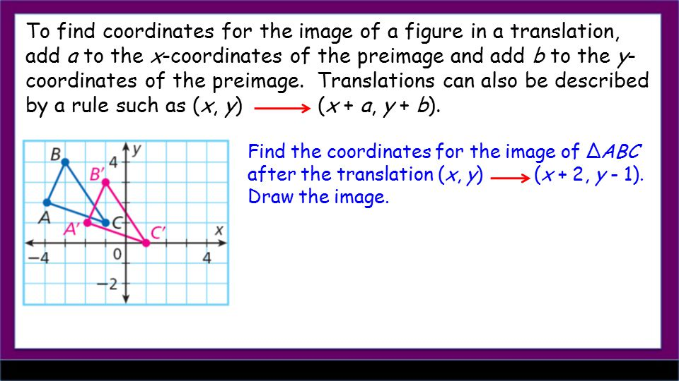 To find coordinates for the image of a figure in a translation, add a to the x-coordinates of the preimage and add b to the y- coordinates of the preimage.