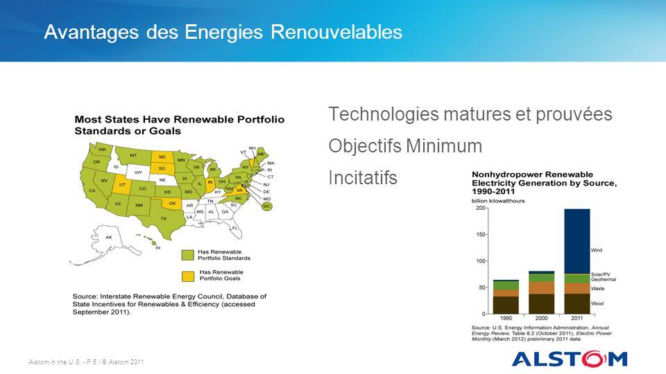 Avantages des Energies Renouvelables Technologies matures et prouvées Objectifs Minimum Incitatifs Alstom in the U.S. - P 5 | © Alstom 2011
