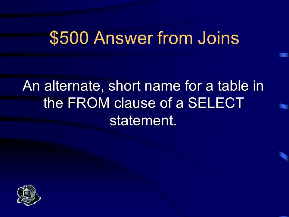 $400 Question from Joins What is a cross join
