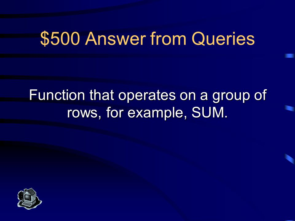 $400 Question from Queries What is a Group By Clause