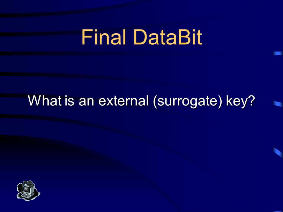 Final DataBit Keys An outside agency such as a standards body or a government agency has developed this so that we can use it as if it were a descript