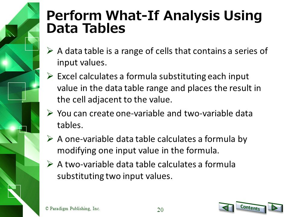 © Paradigm Publishing, Inc. 20 Perform What-If Analysis Using Data Tables  A data table is a range of cells that contains a series of input values. 