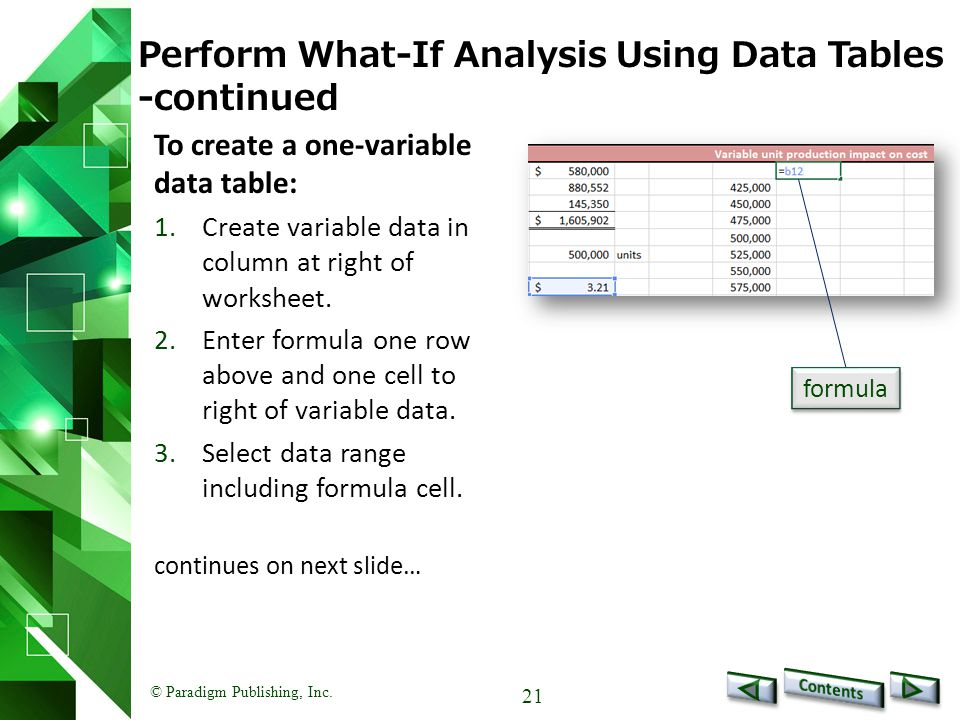 © Paradigm Publishing, Inc. 21 Perform What-If Analysis Using Data Tables -continued To create a one-variable data table: 1.Create variable data in co