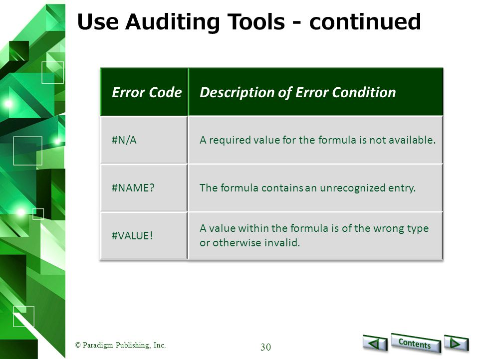 © Paradigm Publishing, Inc. 30 Use Auditing Tools - continued