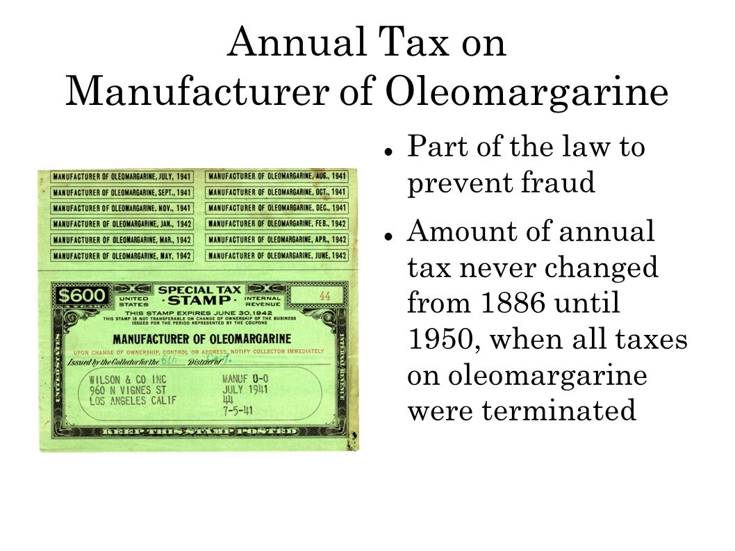 Annual Tax on Wagering Annual registration and payment of fee Probably initiated to determine who was gambling.