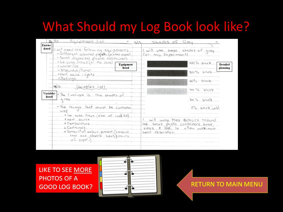 To help assess your planning and work throughout the project you will need to keep a Project log book. This is the small exercise book that was listed