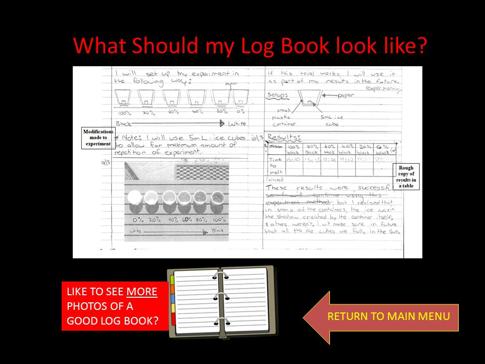 What Should my Log Book look like? LIKE TO SEE MORE PHOTOS OF A GOOD LOG BOOK? RETURN TO MAIN MENU