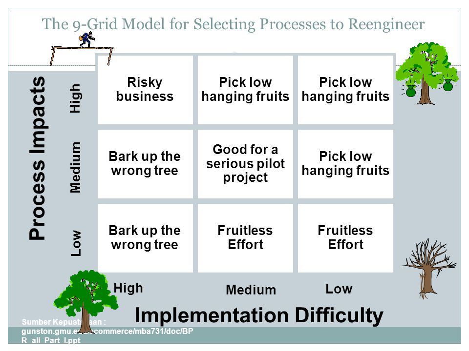 The 9-Grid Model for Selecting Processes to Reengineer Sumber Kepustakaan : gunston.gmu.edu/ecommerce/mba731/doc/BP R_all_Part_I.ppt 11 Risky business