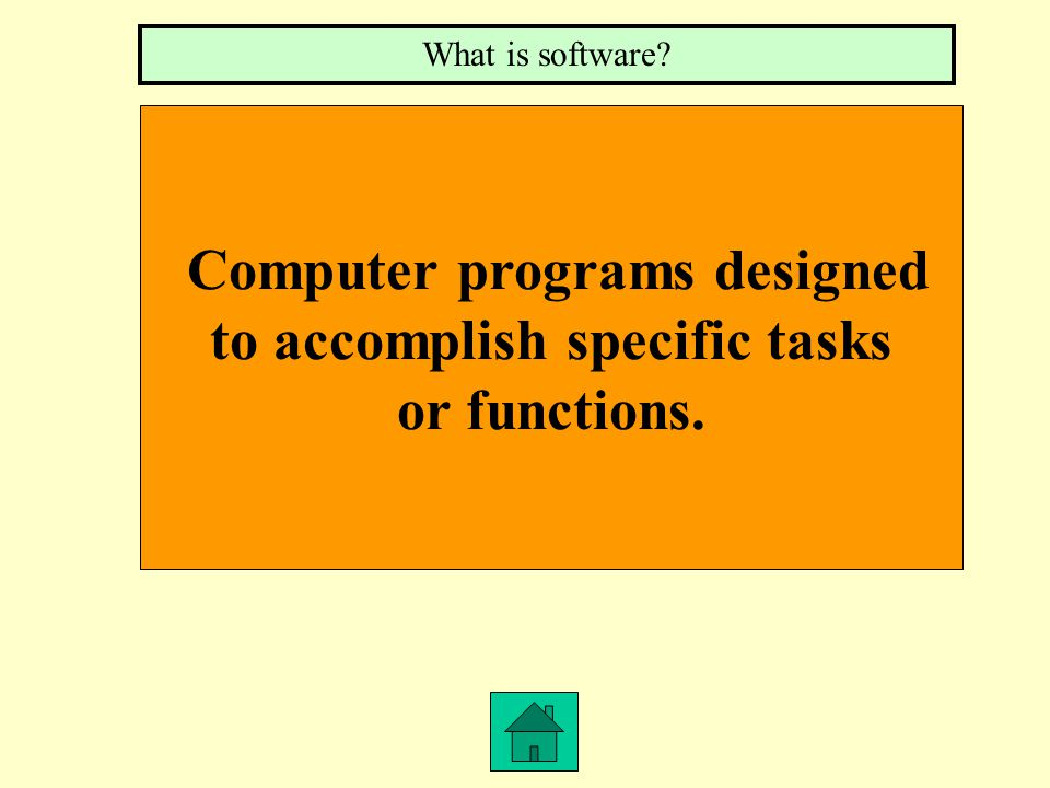 Computer programs designed to accomplish specific tasks or functions. What is software?