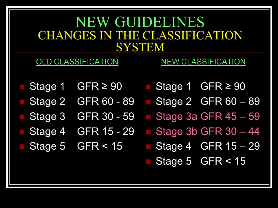 NEW GUIDELINES CHANGES IN THE CLASSIFICATION SYSTEM OLD CLASSIFICATION Stage 1 GFR ≥ 90 Stage 2 GFR 60 - 89 Stage 3 GFR 30 - 59 Stage 4 GFR 15 - 29 Stage 5 GFR < 15 NEW CLASSIFICATION Stage 1 GFR ≥ 90 Stage 2 GFR 60 – 89 Stage 3a GFR 45 – 59 Stage 3b GFR 30 – 44 Stage 4 GFR 15 – 29 Stage 5 GFR < 15