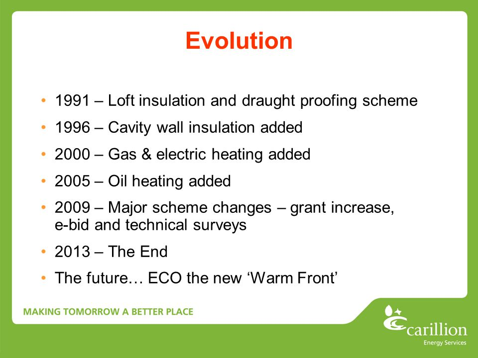 Evolution 1991 – Loft insulation and draught proofing scheme 1996 – Cavity wall insulation added 2000 – Gas & electric heating added 2005 – Oil heatin