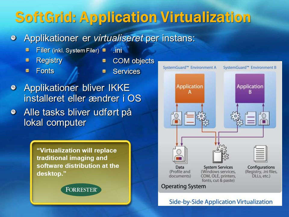 SoftGrid: Application Virtualization Applikationer er virtualiseret per instans: Filer (inkl.