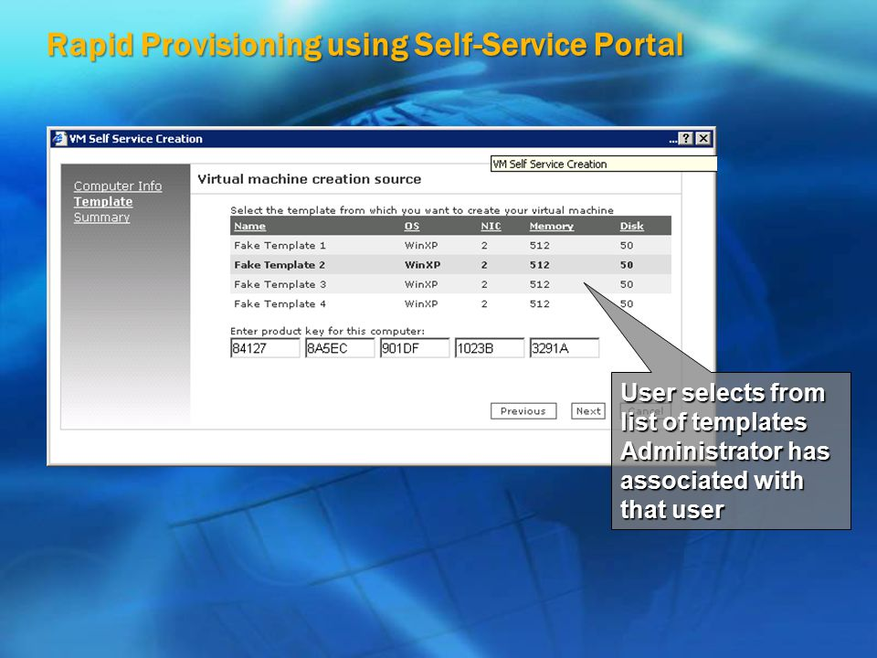 Rapid Provisioning using Self-Service Portal User selects from list of templates Administrator has associated with that user