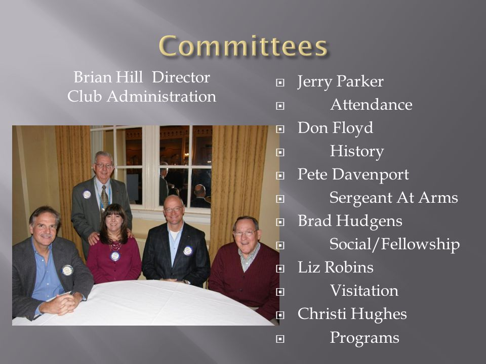  Jerry Parker  Attendance  Don Floyd  History  Pete Davenport  Sergeant At Arms  Brad Hudgens  Social/Fellowship  Liz Robins  Visitation  Christi Hughes  Programs Brian Hill Director Club Administration