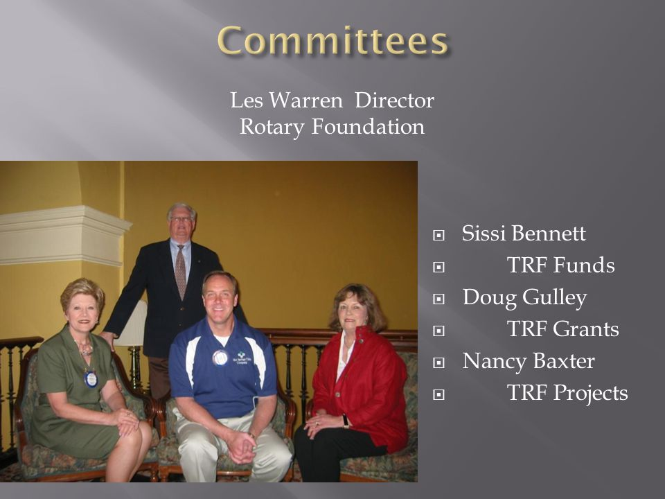  Sissi Bennett  TRF Funds  Doug Gulley  TRF Grants  Nancy Baxter  TRF Projects Les Warren Director Rotary Foundation