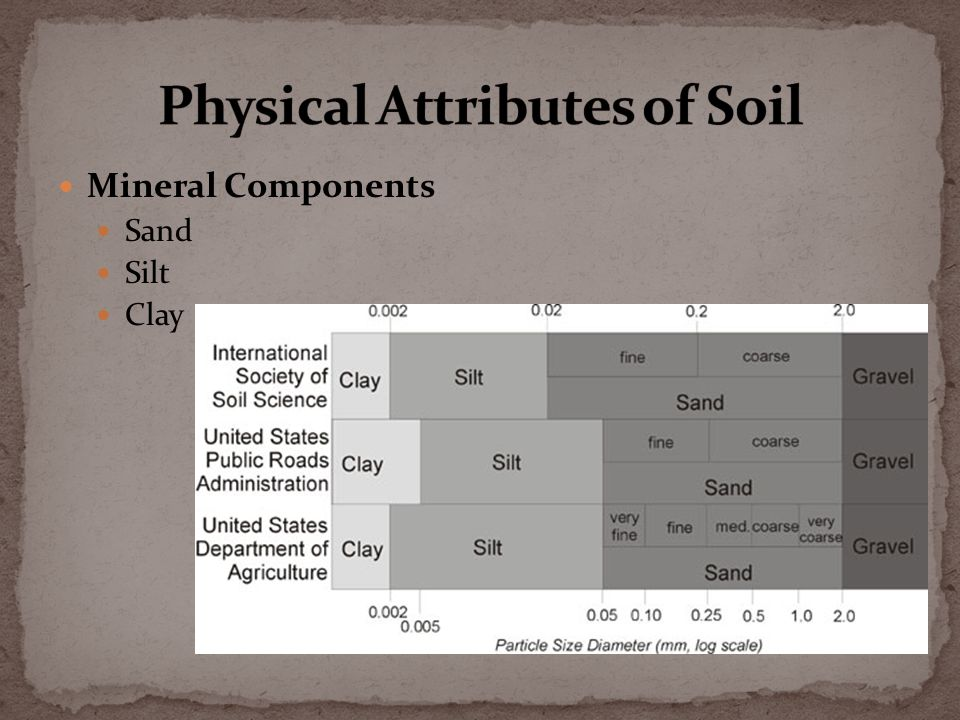 Mineral Components Sand Silt Clay