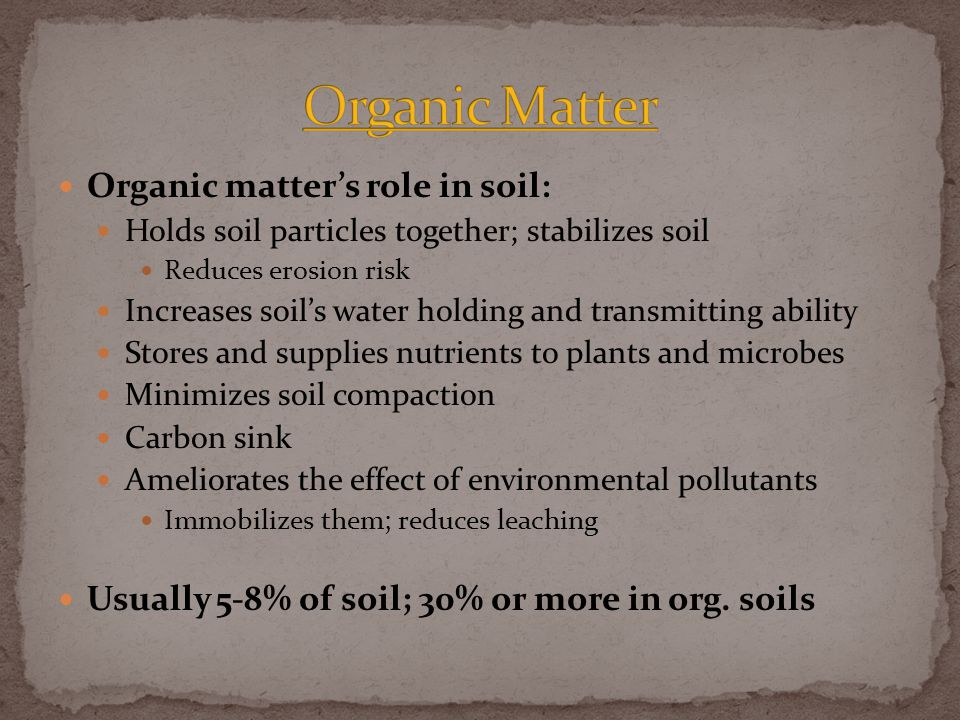 Organic matter's role in soil: Holds soil particles together; stabilizes soil Reduces erosion risk Increases soil's water holding and transmitting ability Stores and supplies nutrients to plants and microbes Minimizes soil compaction Carbon sink Ameliorates the effect of environmental pollutants Immobilizes them; reduces leaching Usually 5-8% of soil; 30% or more in org.