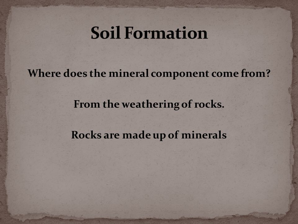 Where does the mineral component come from. From the weathering of rocks.