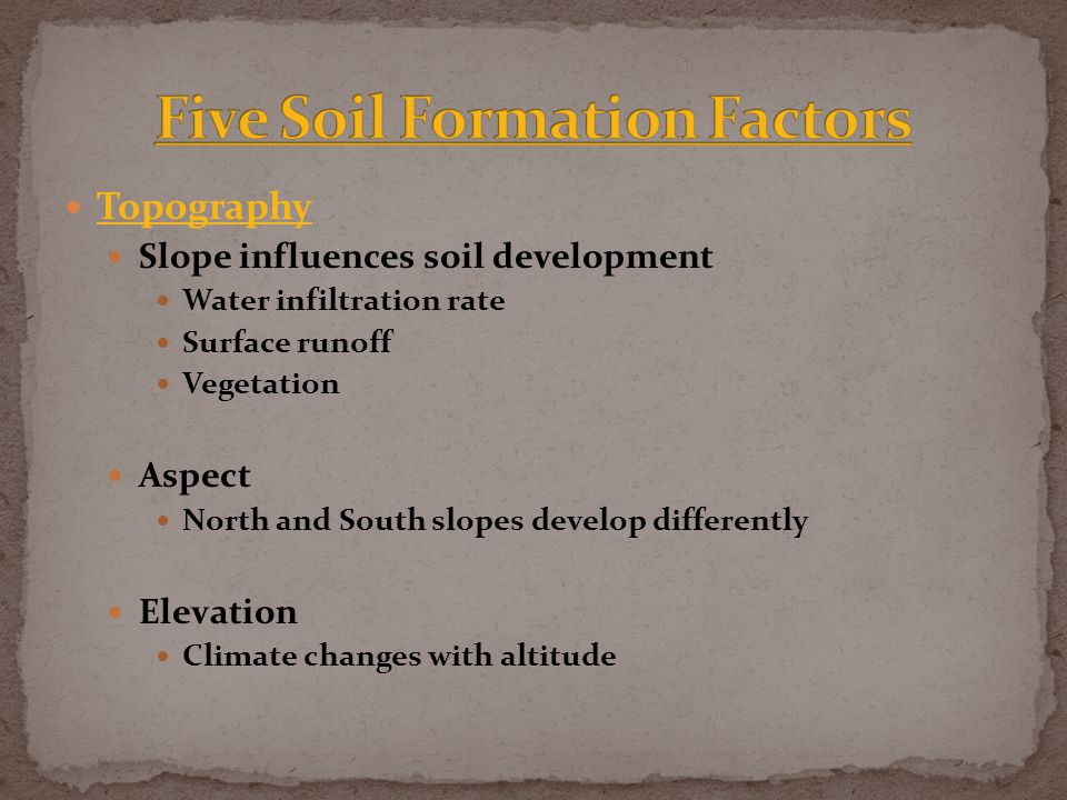 Topography Slope influences soil development Water infiltration rate Surface runoff Vegetation Aspect North and South slopes develop differently Elevation Climate changes with altitude