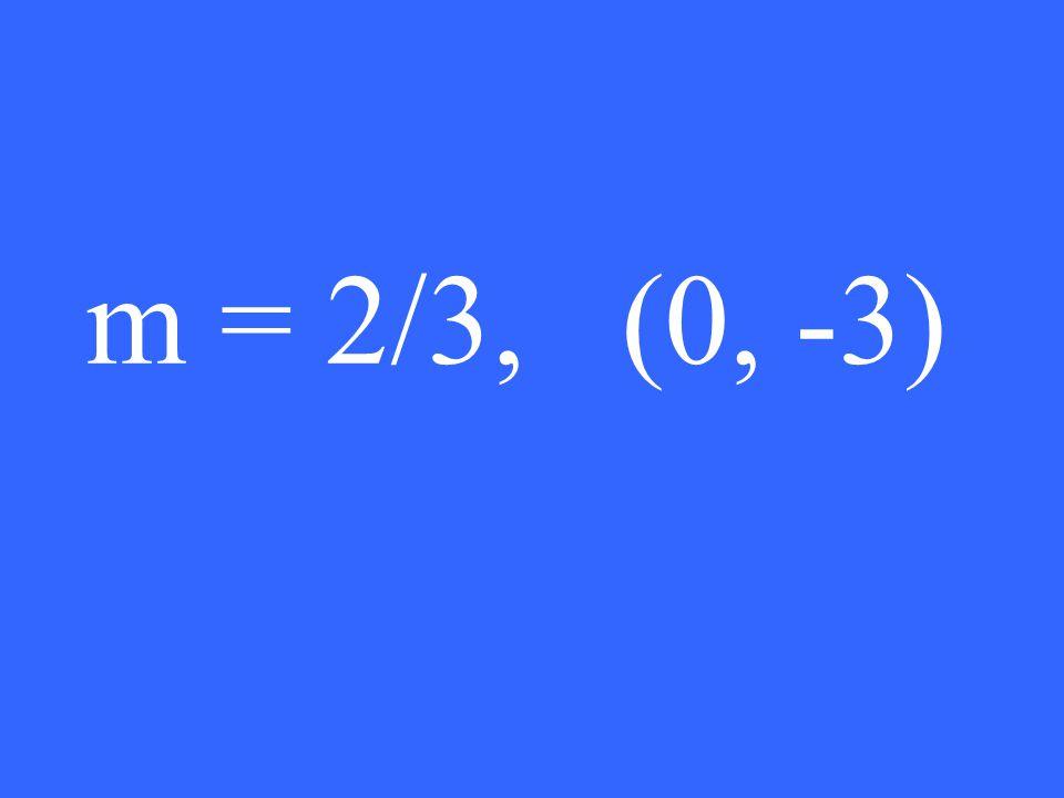 m = 2/3, (0, -3)