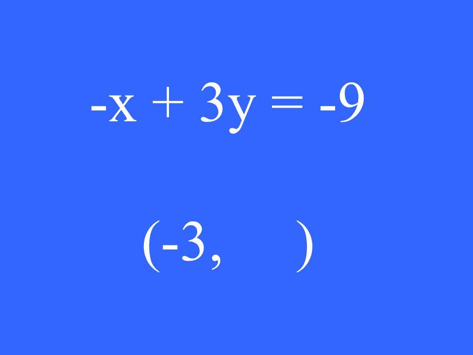 -x + 3y = -9 (-3, )