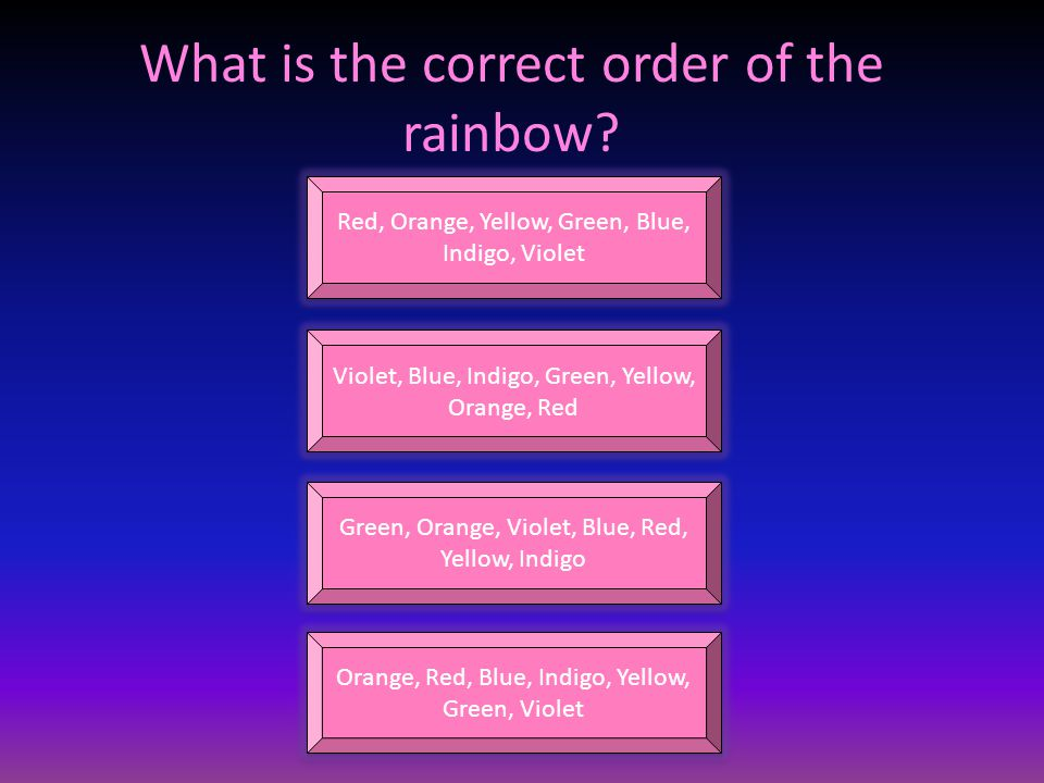 What is the correct order of the rainbow.