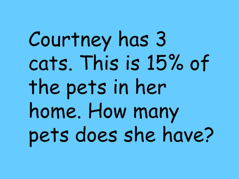 Courtney has 3 cats. This is 15% of the pets in her home. How many pets does she have?