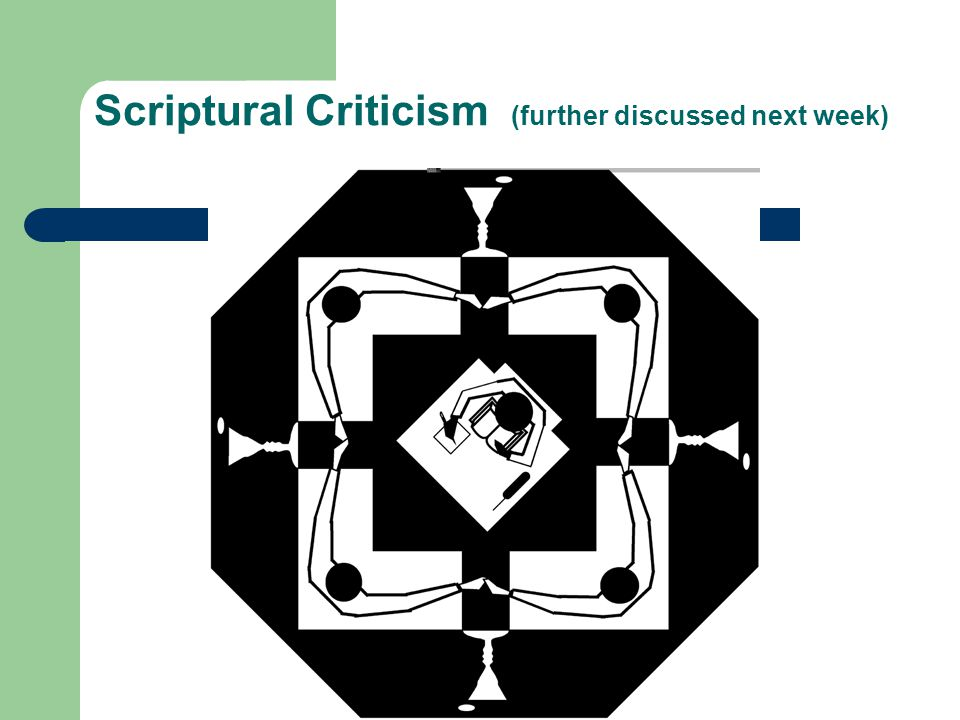 Scriptural Criticism (further discussed next week)