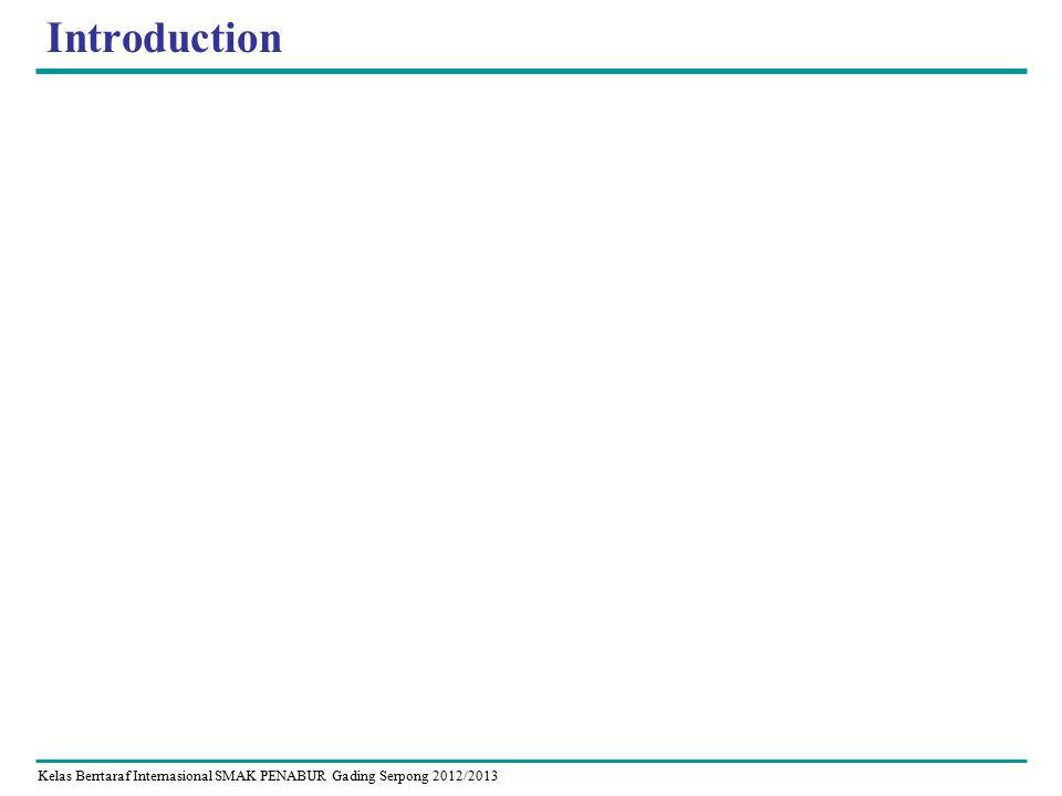 Kelas Berrtaraf Internasional SMAK PENABUR Gading Serpong 2012/2013 Introduction