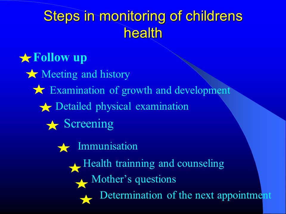 Monitoring of the growth Aim; to follow up the health, to detect health problems in its early stage, to prevent malnutrition At each examination weight, height and head circumference sholud be correctly measured, standart growth curve should be evaluated and it sholud be interpreted in the right way Parents should participate actively in the examination of growth