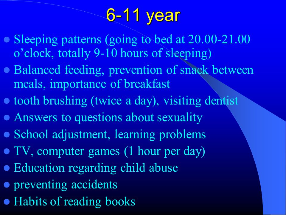 12- 21 year evaluation Healthy communication Respect for private life TV, computer games, internet usage should be supervised Smoking, substance use, sleeping (8-10 h), regular exercişse(at least 3 times a week)) Balanced feedşng (3 meals) Brushing teeth, visiting dentist (twice a year) No weapons at home, preventions of accidents Questions and issues related to sexuality, encourage the education and development of new skills