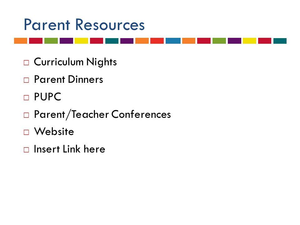 Parent Resources  Curriculum Nights  Parent Dinners  PUPC  Parent/Teacher Conferences  Website  Insert Link here