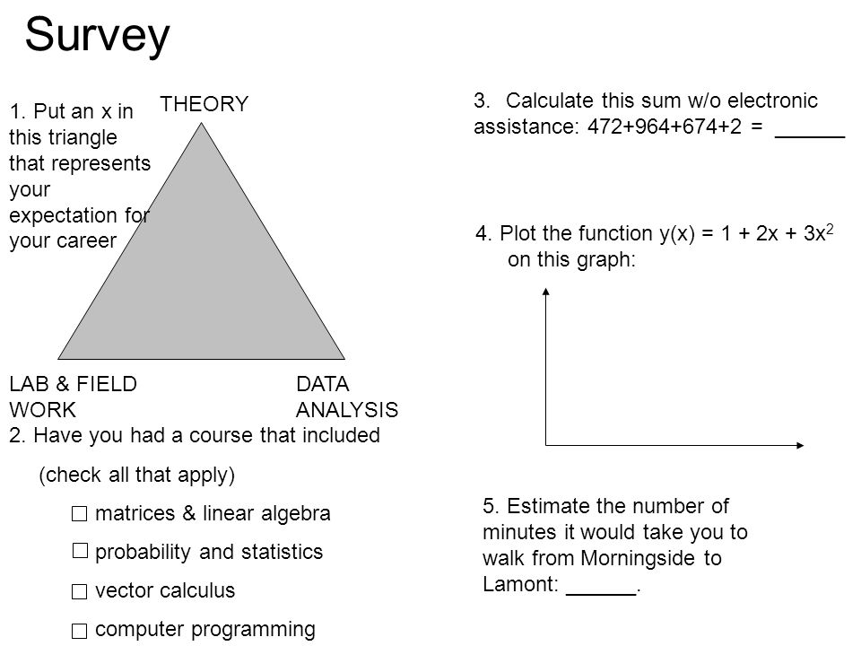 Survey THEORY DATA ANALYSIS LAB & FIELD WORK 2. Have you had a course that included (check all that apply) matrices & linear algebra probability and s