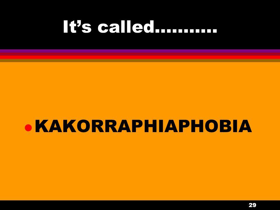 29 It's called……….. l KAKORRAPHIAPHOBIA