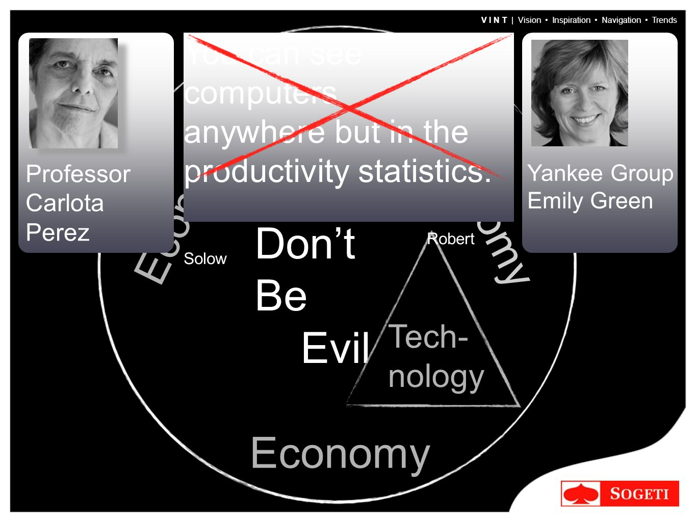 V I N T | Vision Inspiration Navigation Trends Don't Be Evil Trans- parency Tech- nology Economy Professor Carlota Perez Yankee Group Emily Green You can see computers anywhere but in the productivity statistics.