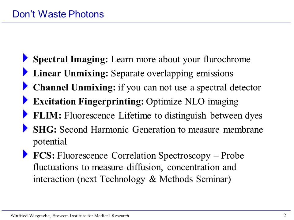 Winfried Wiegraebe, Stowers Institute for Medical Research 2 Don't Waste Photons  Spectral Imaging: Learn more about your flurochrome  Linear Unmixing: Separate overlapping emissions  Channel Unmixing: if you can not use a spectral detector  Excitation Fingerprinting: Optimize NLO imaging  FLIM: Fluorescence Lifetime to distinguish between dyes  SHG: Second Harmonic Generation to measure membrane potential  FCS: Fluorescence Correlation Spectroscopy – Probe fluctuations to measure diffusion, concentration and interaction (next Technology & Methods Seminar)